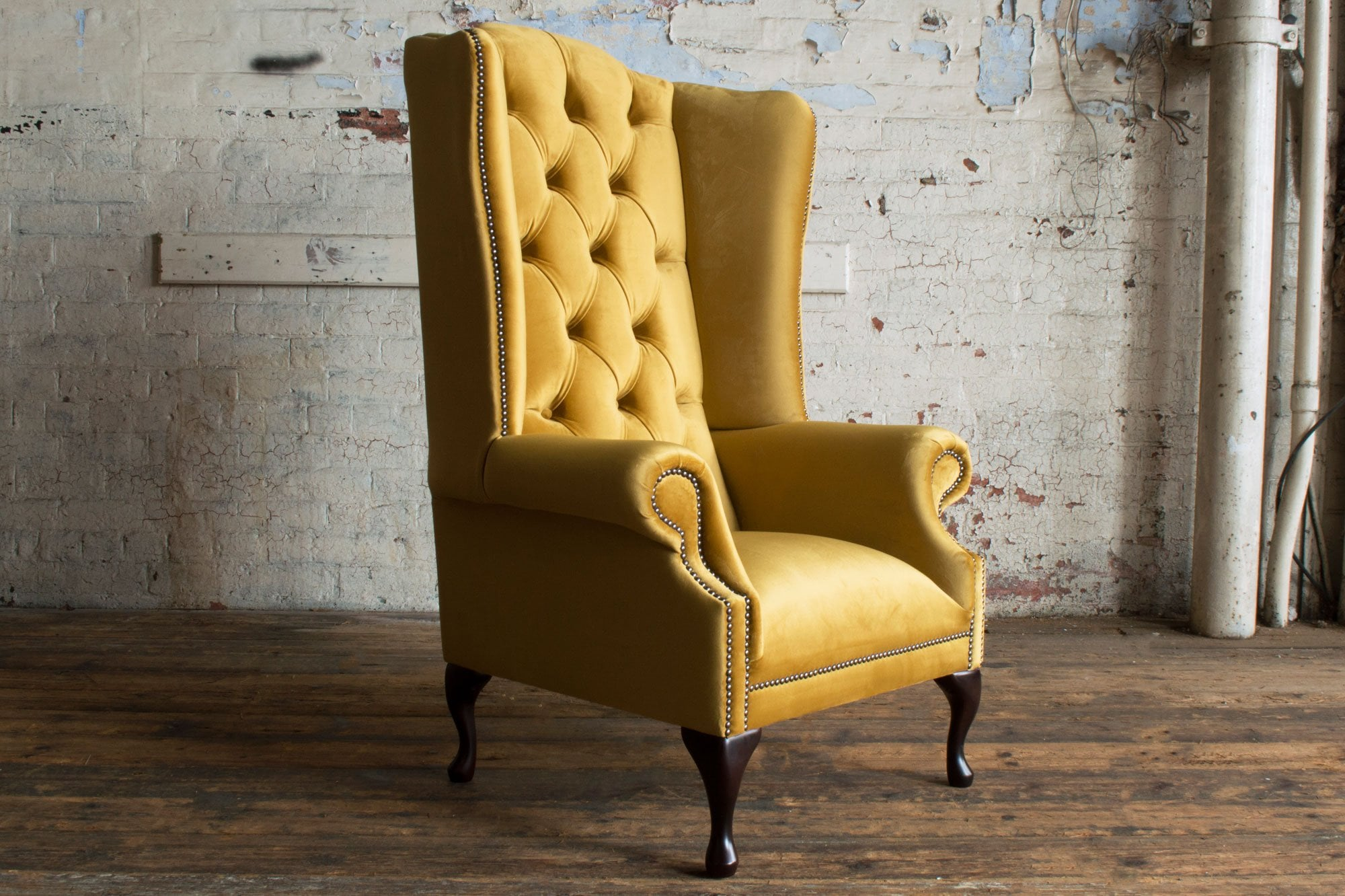 audley chesterfield wing chair house mustard velvet p84 701 zoom